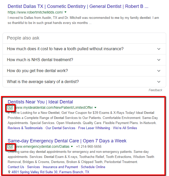The three bottom positions for a website in the SERP.