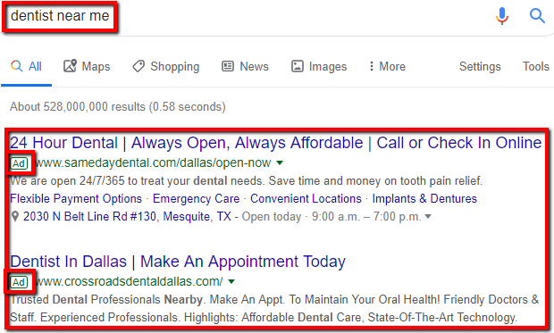 The three top positions for a website of the SERP.