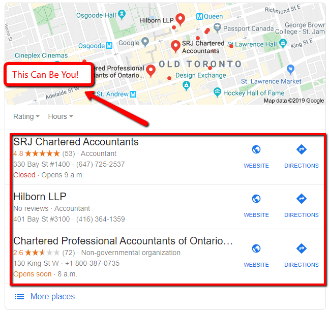 Example SERP of SEO for accountants.