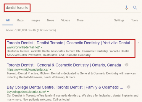 "The SERP for the keyword phrase ""dentist toronto""."