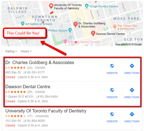 Google Maps results of dental practices.