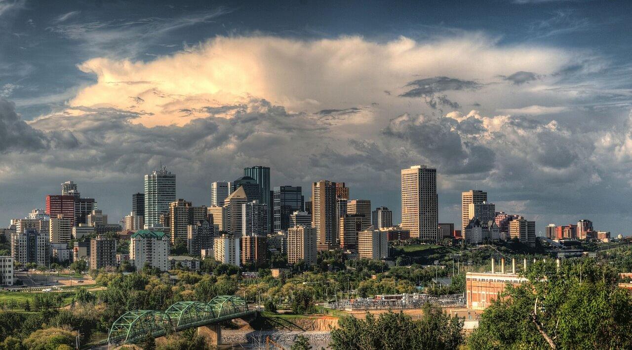 Downtown Edmonton skyline.