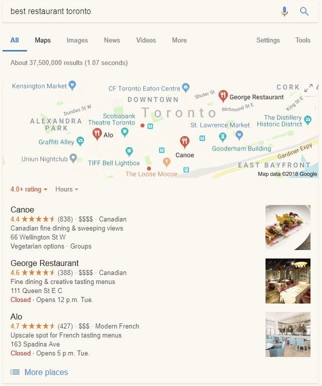 "Showing the Google My Business listings when searching for ""best restaurant toronto""."