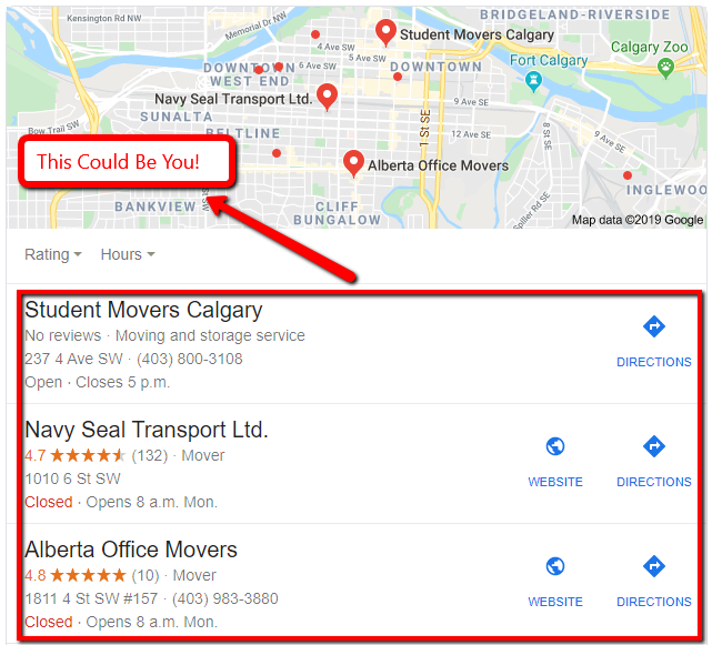 Local Google My Business Maps results for a moving company query.