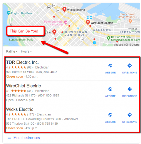 Google Search results of a local electrician.