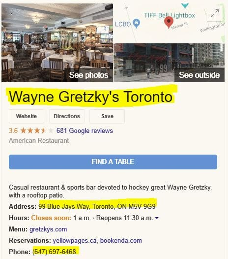 The GMB for Wayne Gretzky's restaurant.